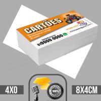 1 Mil cartões de visita coloridos frente em papel couche brilhoso 250g com verniz total na frente tamanho padrão 8X4cm